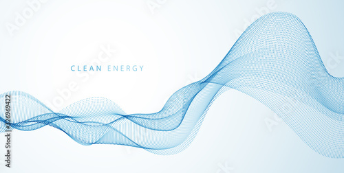 Fototapeta Flowing energy particles, wave of blended dots. Curved dotted 3d lines vector effect illustration. 3d futuristic technology style. obraz