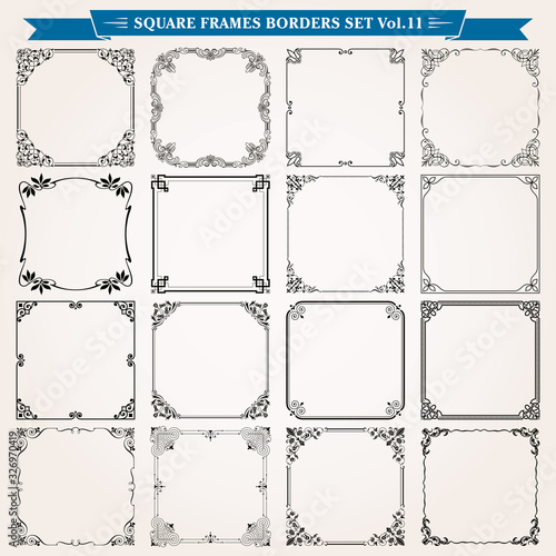 Fototapety, obrazy: Decorative square frames and borders set 11 vector