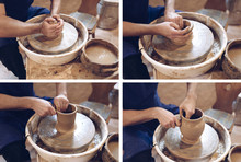 Potter Making A Clay Vase On A...