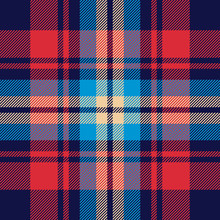 Tartan Plaid Pattern Background. Seamless Striped Check Plaid Graphic In Blue, Red, And Beige For Flannel Shirt, Blanket, Throw, Upholstery, Duvet Cover, Or Other Modern Fabric Design.