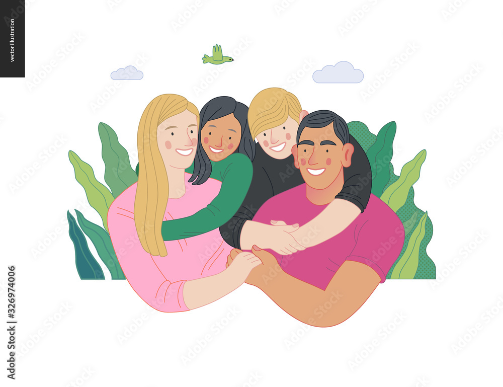 Fototapeta Happy international family with kids -family health and wellness -modern flat vector concept digital illustration of a happy family of parents and children, family medical insurance plan