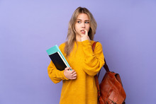 Teenager Russian Student Girl Isolated On Purple Background Nervous And Scared
