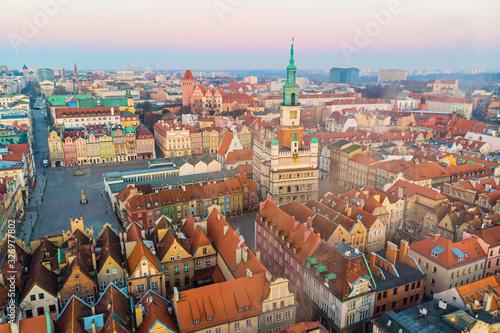 Fototapeta Poznań, wschód słońca nad Starym Rynkiem obraz