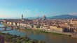 Aerial view. Florence Ponte Vecchio Bridge and City Skyline in Italy.