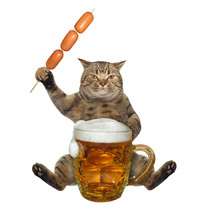 The Beige Cat Is Eating A Saus...