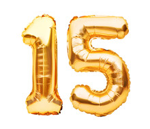 Number 15 Fifteen Made Of Golden Inflatable Balloons Isolated On White. Helium Balloons, Gold Foil Numbers. Party Decoration, Anniversary Sign For Holidays, Celebration, Birthday, Carnival