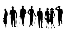 Vector Set Of People Silhouett...