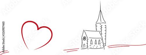 Fotografia, Obraz Einladung zur Konfirmation, Firmung, Familienfeier, Kleine Kirche mit Herz, Kirc