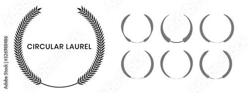 Set of black silhouette circular laurel foliate, wheat and oak wreaths depicting an award, achievement, heraldry, nobility on white background Fototapet