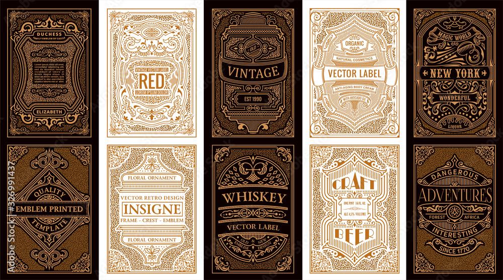 Fototapeta Vintage set retro cards. Template greeting card wedding invitation. Line gold calligraphic frames