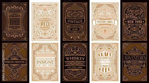 Obraz Vintage set retro cards. Template greeting card wedding invitation. Line gold calligraphic frames - fototapety do salonu