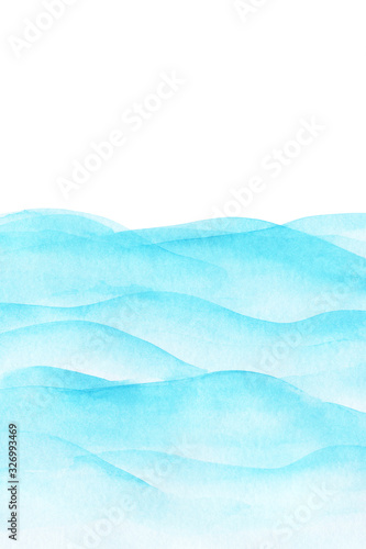 Fototapety, obrazy: Abstract light blue cyan, turquoise wave watercolor background business card with space for text or image, isolated