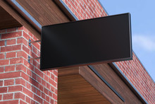 Horizontal Singboard Or Signage On The Red Brick Wall With Blank Black Sign Mock Up. Bottom View. 3d Illustration