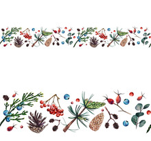 Watercolor Seamless Border With Pine Cones, Branches Of Rose Hip, Alder, Juniper, Eucalyptus And Pine, Rowan Bunches, Juniper And Rowan Berries.  Hand Drawn Botanical Border With Forest Spirit.