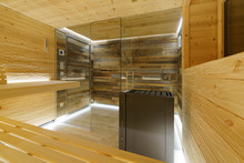 Sauna Mit Glasfront, Altholz U...