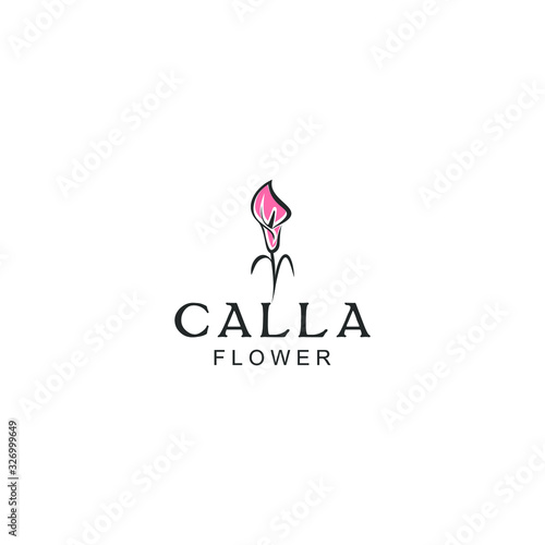 Photo Line illustration  Calla flowers plant logo design
