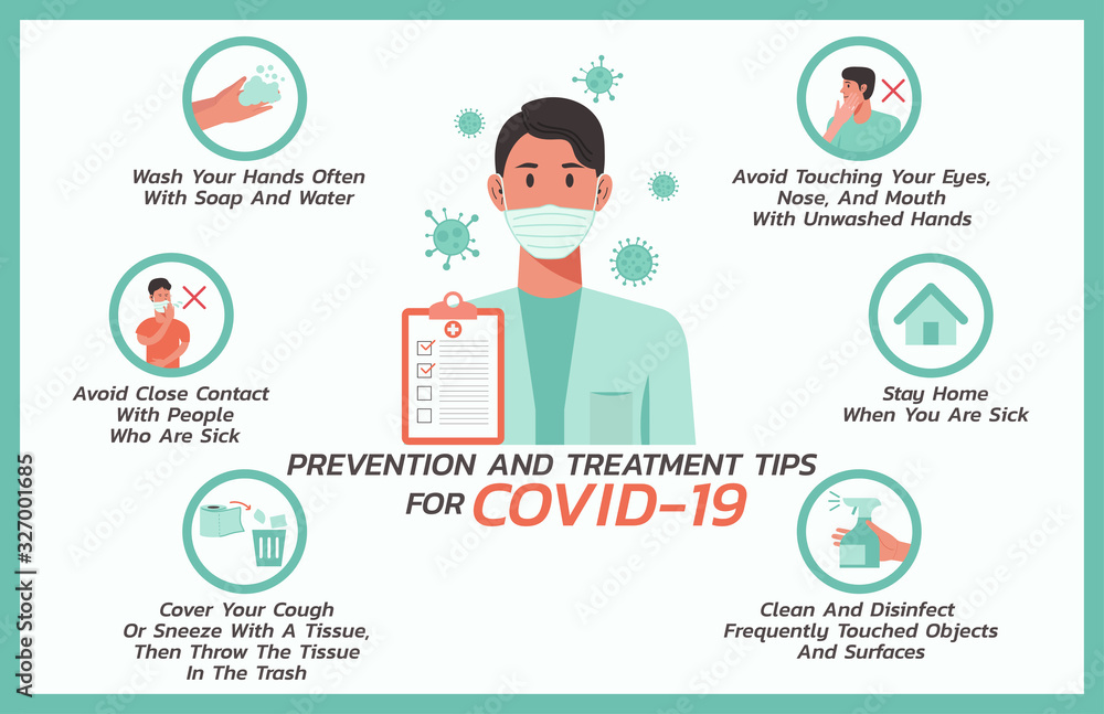 Fototapeta prevention and treatment tips for COVID-nineteen infographic, healthcare and medical about flu, fever and virus prevention, vector flat symbol icon, layout, template illustration in horizontal design