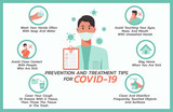 prevention and treatment tips for COVID-nineteen infographic, healthcare and medical about flu, fever and virus prevention, vector flat symbol icon, layout, template illustration in horizontal design