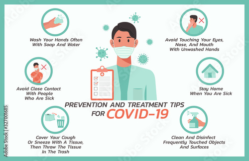 Obraz prevention and treatment tips for COVID-nineteen infographic, healthcare and medical about flu, fever and virus prevention, vector flat symbol icon, layout, template illustration in horizontal design - fototapety do salonu