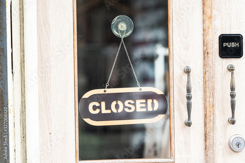 Cuadros en Lienzo sorry we are closed sign hanging outside a restaurant, store, office or other