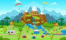 Big Tourist Map With Summer Forest Activity, Tents, Tourist Van, Cyclists, A Climber, People On Kayaks, Anglers.  Flat Vector Illustration.