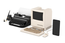 Technology Evolution Concept. Progress From Ancient Fountain Pen With Ink Bottle, Through Retro Typewriter And Personal Computer To Mobile Phone. 3d Rendering