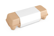 Egg Brown Cardboard Box With Blank Label With Free Space For Your Design. 3d Rendering