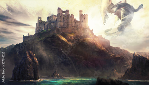 Fototapeta Artistic Illustration Of A Dragon Attacking A Castle On Top Of A Mountain obraz