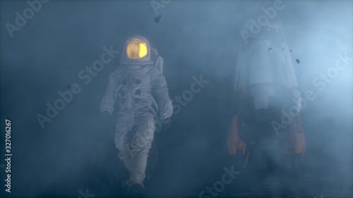 Astronaut walking on a foggy alien planet Wallpaper Mural