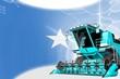 Digital industrial 3D illustration of blue advanced rural combine harvester on Somalia flag - agriculture equipment innovation concept