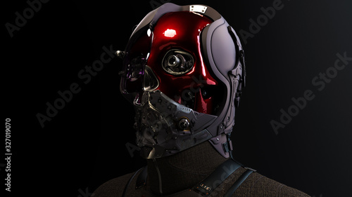3D composite illustration of Cyborg with a skull face pilot, aviator with multiple optical elements, different lenses to capture all in details Canvas Print