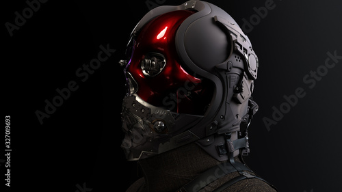 3D composite illustration of Cyborg with a skull face pilot, aviator with multiple optical elements, different lenses to capture all in details Tableau sur Toile