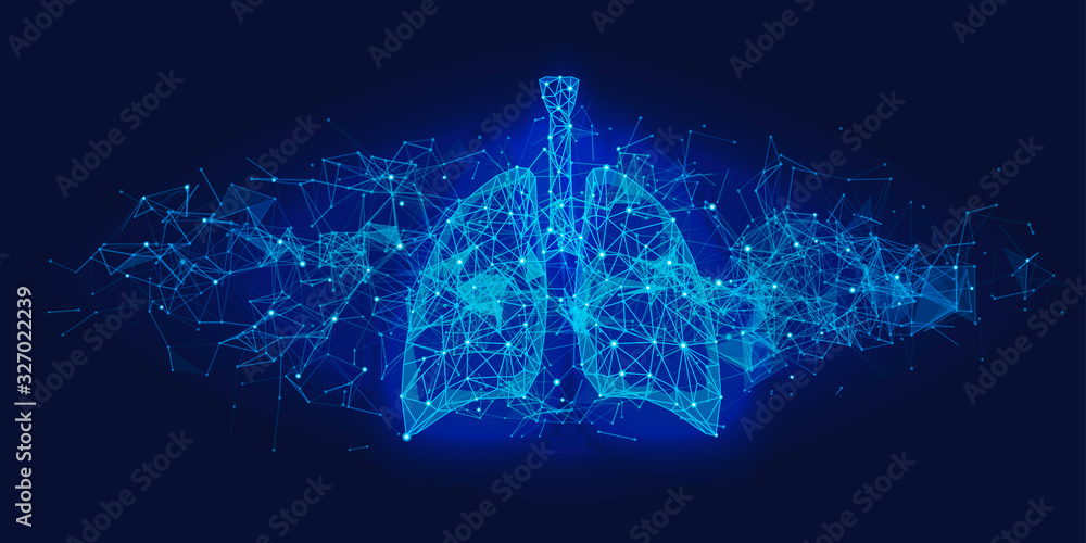 Fototapeta Futuristic medical concept with blue human lungs