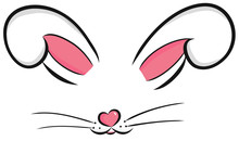 Easter Bunny Cute Vector Illustration Drawn By Hand. Bunny Face, Ears And Tiny Muzzle With Whiskers Isolated On White Background