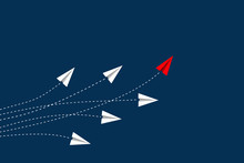 Leadership And Competition Concept, With Red Paper Plane Leading Among White On Blue Background.