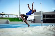 Athlete Doing A High Jump
