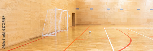 Fototapeta Gates for mini football. Hall for handball in modern sport court