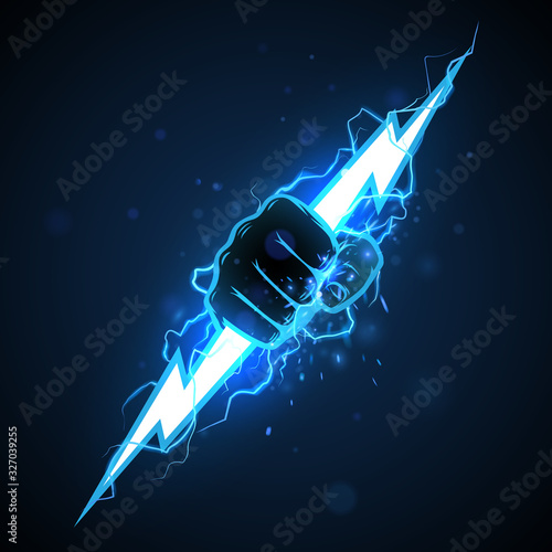 Fist with blue lightning illustration фототапет