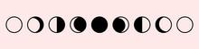 Moon Phases Astronomy Set Icon...