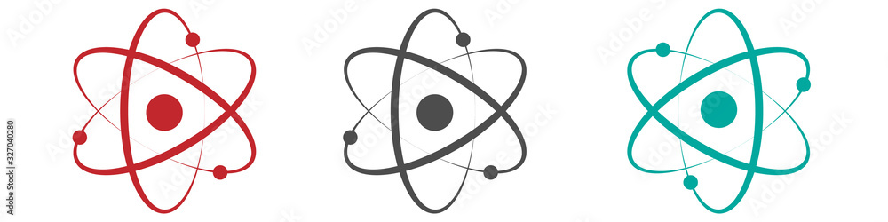 Fototapeta Atom icon in flat design. Set molecule symbol or atom symbol isolated. Vector illustration