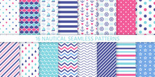 Marine Seamless Pattern. Vecto...