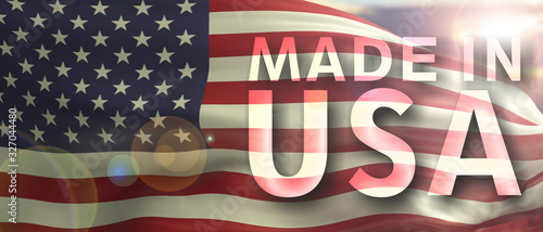 Fotografie, Tablou Made in USA text on us flag texture background. 3d illustration