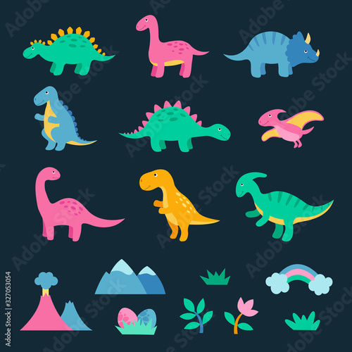 Photo Set of cute colorful dinosaurus
