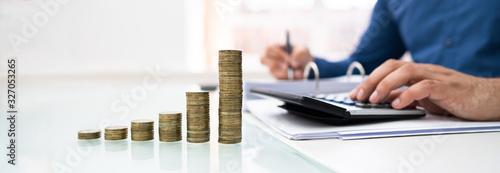 Obraz na plátně Man Calculating Financial Work