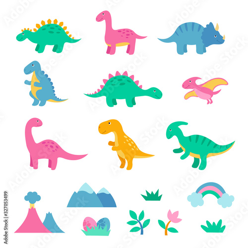 Set of cute colorful dinosaurus Canvas Print