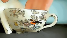 Male Hands Cleaning Antique Japanese Teacup. Cartoonized