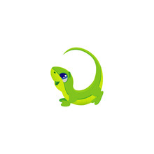 Vector Illustration Of Cartoon Green Letter L With Cute Funny Little Lizard, Lacertian Long Tail, Big Eyes, Isolated On White Eps 10 Mascot For Kids Abc, Illustration For Alphabet