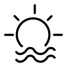 Sunrise Icon. Sun And Sea Illu...