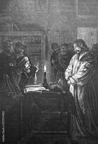 Obraz na plátně Jesus Christ before Pontius Pilate in the old book Des Peintres, by C