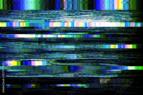 Glitch no signal background pixel noise, digital pattern. Wallpaper Mural